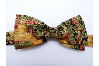 Holly and Bells on Black Pre Tied Bow Tie