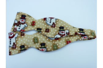 Gold Glitter Snowmen Self Tie Bow Tie