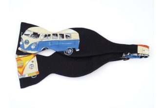 Campervan on Black Self Tie Bow Tie