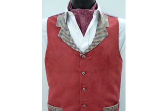 Maroon Suede Waistcoat (with contrast and paisley lining)