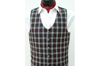 Black/White/Red Check Waistcoat