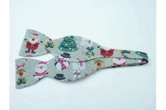 Christmas Fun on Grey Self Tie Bow Tie