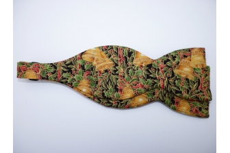 Holly and Bells on Black Self Tie Bow Tie