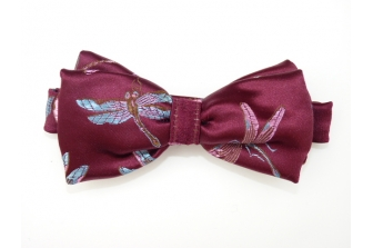 Blue Dragonfly on Burgundy Pre Tied Bow Tie