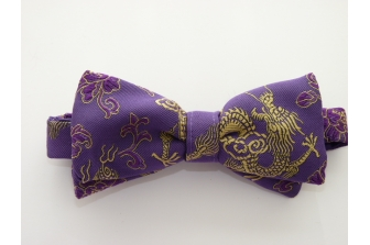 Hyacinth/Gold Dragon Pre Tied Bow Tie