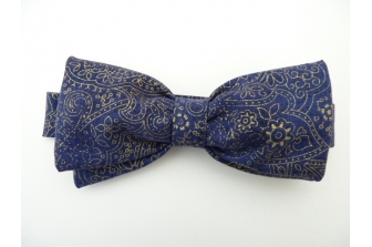 Blue/Gold Paisley Pre Tied Bow Tie