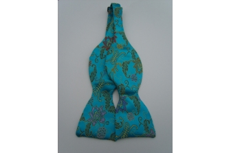 Aqua Chinese Flower Self Tie Bow Tie