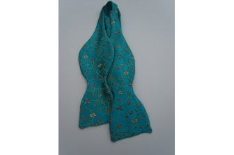 Aqua Blue Small Flower Self Tie Bow Tie