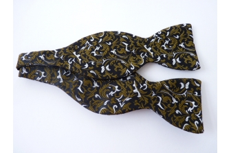 Black Silk Swirl Self Tie Bow Tie