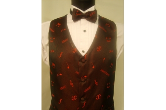 Black/Red Music Notes Waistcoat