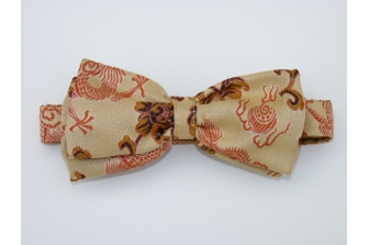 Cream/Copper Dragon Pre Tied Bow Tie