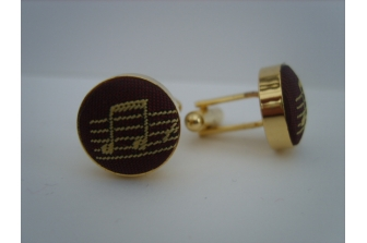 Burgundy/Honey Music Notes Cuff Links
