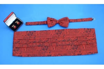 Red Greek Tile Cummerbund Set