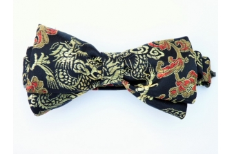 Gold/Red/Black Dragon Silk Pre Tied Bow Tie