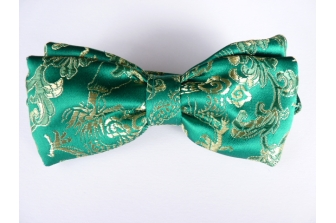 Green/Gold Dragon Silk Pre Tied Bow Tie