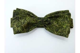 Green/Gold Swirl Pre Tied Bow Tie