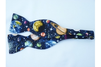 All Over Planets Self Tie Bow Tie