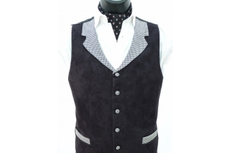 Black Suede Waistcoat (with contrast)
