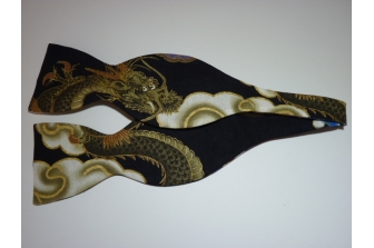 Navy Dragon Self Tie Bow Tie