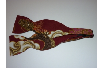 Burgundy Dragon Self Tie Bow Tie