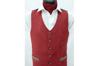 Maroon Suede Waistcoat (with contrast)