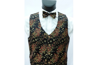 Black/Red/Gold Blossom Waistcoat