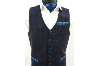 Navy Suede Waistcoat (with contrast)