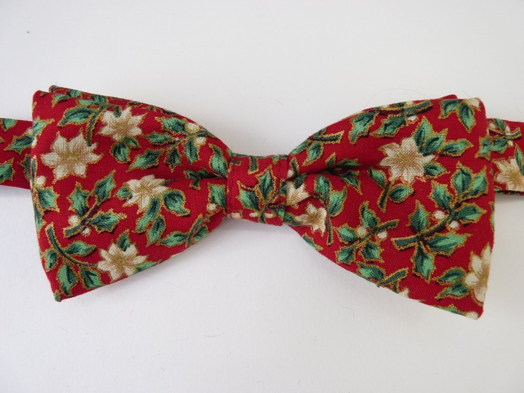 Poinsettia on Red Pre Tied Bow Tie