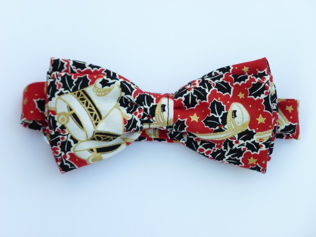 Holly and Bells on Red  Pre Tied Bow Tie