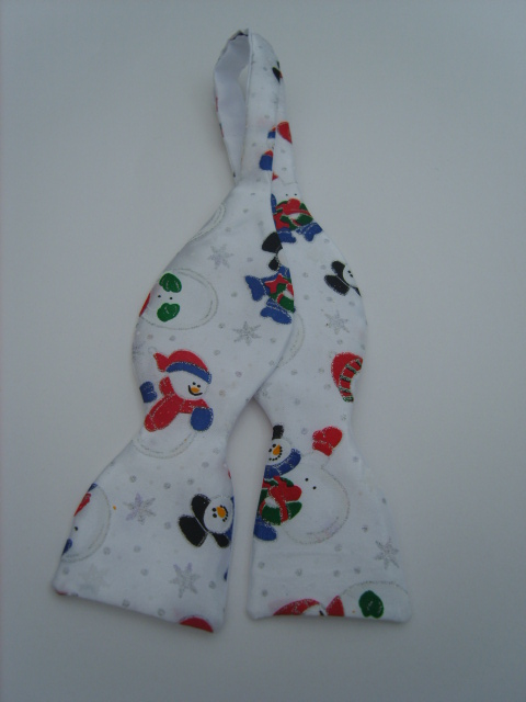 White Glitter Snowmen Self Tie Bow Tie