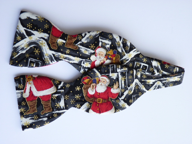 Rooftop Santa on Black Self Tie Bow Tie