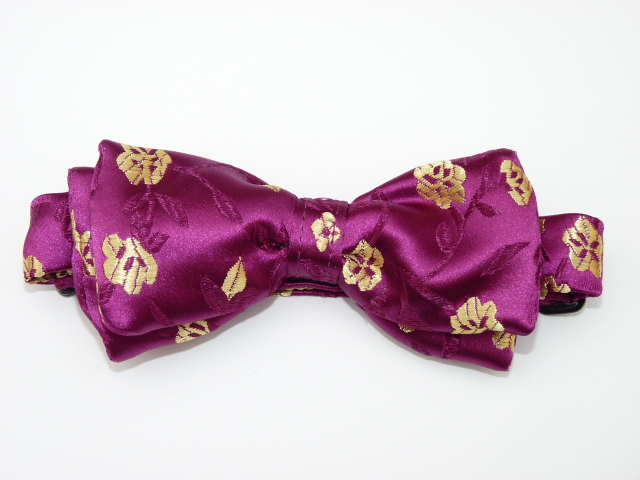 Gold Flowers on Plum Pre Tied Bow Tie