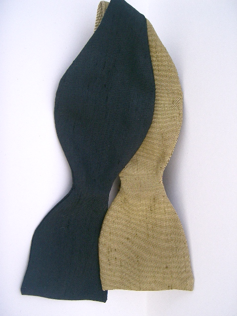 Black/Gold Silk Self Tie Bow Tie