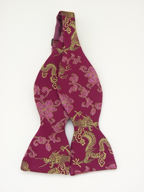 Cerise/Gold Dragon Self Tie Bow Tie