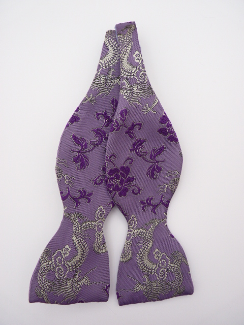 Lilac/Silver Dragon Self Tie Bow Tie