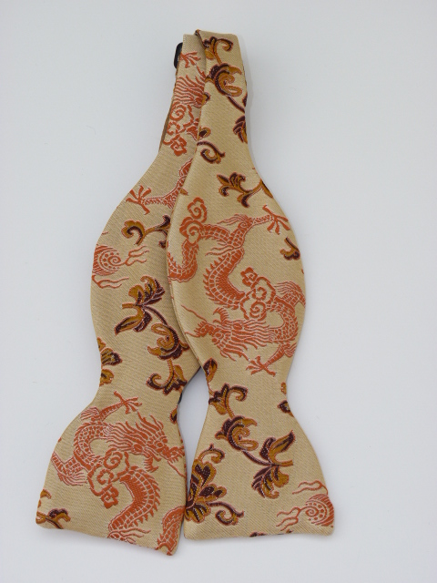 Cream/Copper Dragon Self Tie Bow Tie