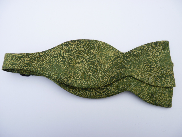 Apple Green/Gold Paisley Self Tie Bow Tie