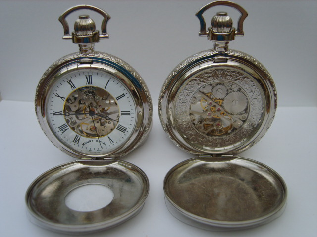 Chromium Double Opening Half Hunter Skeleton Pocketwatch