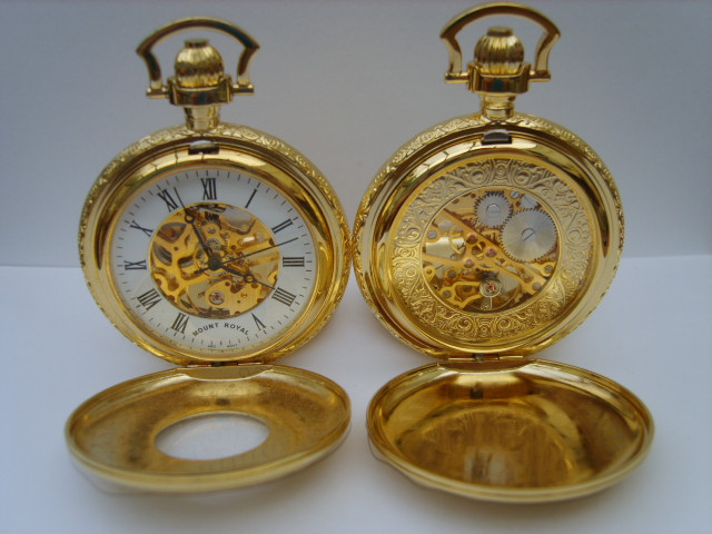 Gold Double Opening Half Hunter Skeleton Pocketwatch