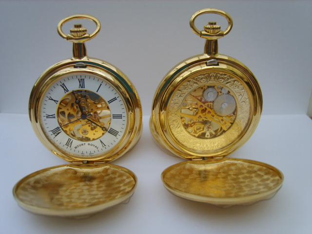 Gold Double Opening Full Hunter Skeleton Pocketwatch