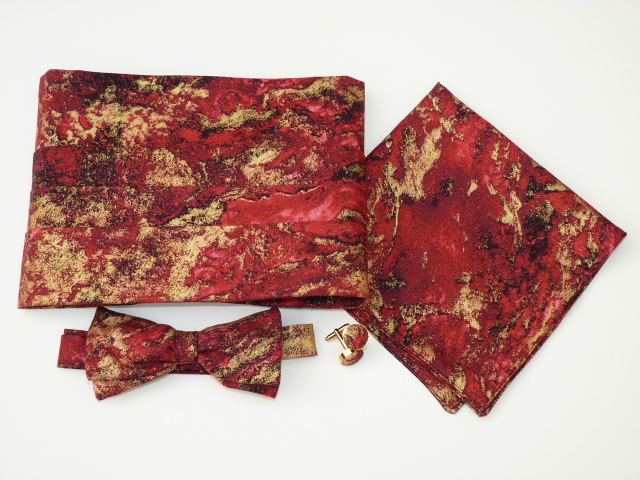 Red Marble Cummerbund Set
