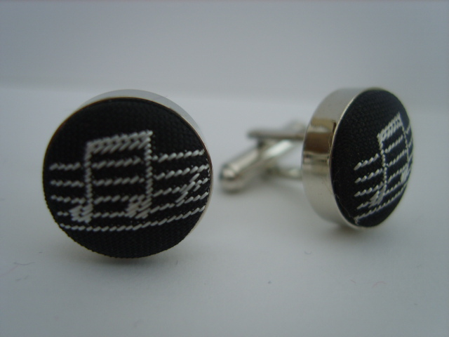 Black/Silver Music Notes Cuff Links