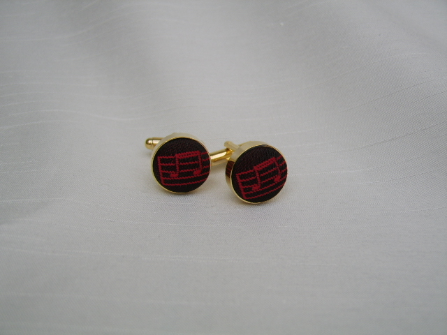 Red/Black Music Notes Cuff Links