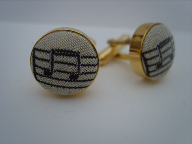Ivory/Black Music Notes Cuff Links